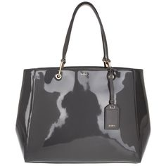 DKNY Tote Patent Leather/Buttercalf Trim Dark Charcoal in grey, Handle... ($365) ❤ liked on Polyvore featuring bags, handbags, tote bags, grey, grey purse, gray purse, patent leather tote bag, tote handbags and gray tote bag
