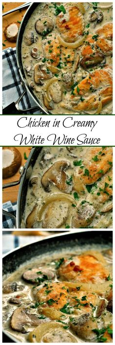 Be it for a Friday night dinner party or for a romantic date night, this Chicken in Creamy White Wine Sauce has you covered! Wine and cream give this sauce an elegant feel while keeping the chicken nice and juicy! Creamy White Wine Sauce, Friday Night Dinners, Date Night Meals, Date Night Recipes, Dinner Party Recipes Main, Dinner Party Main Course, Date Dinner, Love Food, Main Dishes