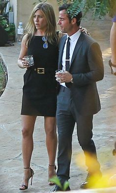 Jennifer Aniston in a failsafe LBD, at Jimmy Kimmel's and Molly McNearney's wedding in California, gave a lesson in wedding guest style. She proved that you can wear black to a summer wedding as she stunned in a simple but oh-so chic mini dress. A waist-cinching belt, strappy Giuseppe Zanotti heels and glossy hair were all the accessories Jen needed.