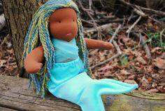 ON SALE Waldorf Mermaid Doll African American Blue by WildMarigold, $116.00