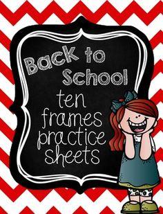 FREE! Back to School Ten Frames Practice Sheets