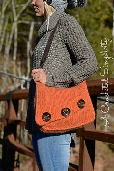 Ravelry: Knit-Look Asymmetrical Bag - Crochet Pattern by Jennifer Pionk - available for $3.00 USD.