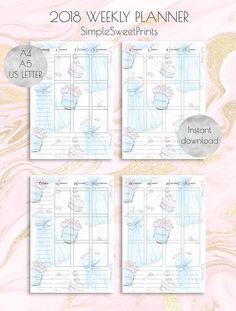 A5 planner inserts Filofax A5 inserts 2018 weekly planner