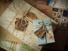 travel inspired wrapping! Maps and parcels, with home made tags and stamps.