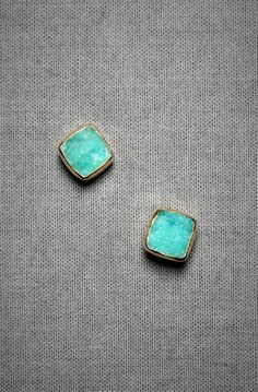 BHLDN square turquoise studs