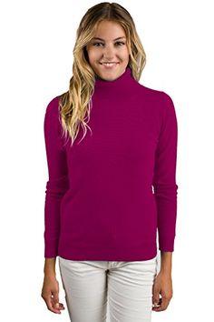 JENNIE LIU Women's 100 Pure Cashmere Long Sleeve Pullover Turtleneck Sweater