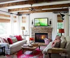 This is almost my living room but with pops of red and wood beams. Would be a good switch for the fall/winter months Cozy Living Rooms, My Living Room, Home And Living, Living Room Decor, Living Spaces, Barn Living, Style At Home, Colours That Go Together, Family Room