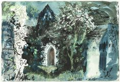 ✦ john piper - 'castlebythe' - ink, pastel and watercolour Edward Hopper, John Piper Artist, 20th Century Painters, Raoul Dufy, Just Ink, Modern Landscaping, Abstract Landscape, Architecture Art, Printmaking