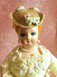 FRENCH FASHION DOLL ~ TINY Bonnet ~ Hat ~ Blue Trims ~ Zofia Rose's Emporium