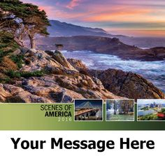 2016 Scenes of America - US Scenic - Promotional Calendar Cover. Imprinted with your Business, Organization or Event Name and Logo As Low As 65¢. Available in Spanish/English bilingual and English Only versions.