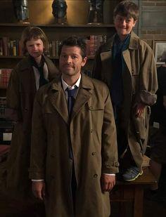 "Misha's kids, Maison and West, visiting dad on the ""Supernatural"" set ~ season 14 Supernatural Fanfiction, Supernatural Actors, Supernatural Seasons, Supernatural Quotes, Sherlock Quotes, Castiel, West Collins, Decimo Doctor, Superwholock"