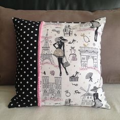"Housse de coussin chic et retro ""la parisienne"" N°3 et tissu noir à pois : Textiles et tapis par nymeria-creation Learn Embroidery, Vintage Embroidery, Embroidery Patterns, Sewing Pillow Patterns, Sewing Pillows, Cushion Covers, Pillow Covers, Paris Quilt, Pochette Diy"