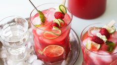 Raspberry-Mint Limeade - basil might be good in place of the mint too.