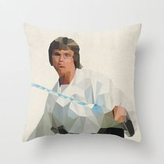 Luke Skywalker Star Wars Pillow Cushion Cover Polygon Art Home Decor Vintage Style Science Fiction Sci Fi Character on Etsy, $34.00