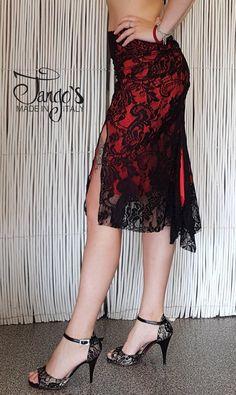 1ab979c5cc6a Tango s Gonna Lyra Pizzo Nero e Rossa   Tango Skirt