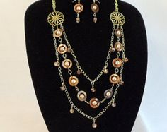 Mother of Pearl Long Multi Strand,Statement Necklace,Glass Pearls,Amber Beads,Gold Chain,Matching Earrings,Guardian Angel Dangle,#NS1065 by ckdesignsforyou. Explore more products on http://ckdesignsforyou.etsy.com