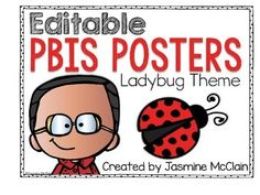 FREE & EDITABLE PBIS Posters with a Ladybug Theme
