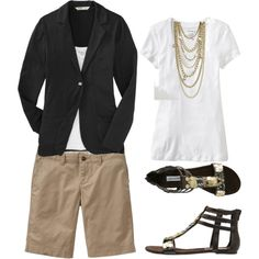Bermuda shorts with a white tee, a blazer, statement necklace, and flats instead of sandals. Roll up the sleeves to take the edge off the heat!