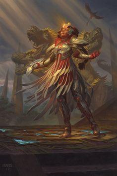 MtG Art: Huatli, Radiant Champion from Rivals of Ixalan Set by Chris Rahn - Art of Magic: the Gathering Fantasy Concept Art, Fantasy Images, Fantasy Artwork, Character Creation, Character Concept, Character Art, Character Design, Dark Souls, Magic The Gathering
