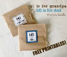 D is for Dad, and G is for Grandpa:  Paper Sack Cards for Father's Day with fun questions for kids to answer about their dad/grandpa!!  Free Printables!!!  {simplykierste.com}