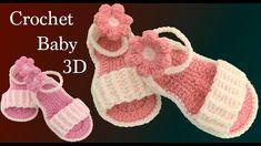 Como hacer sandalias para bebe a crochet con flores tejidas en 3D tejido tallermanualperu - YouTube