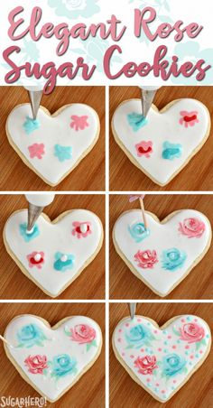 Valentine's Day Sugar Cookies - classic sugar cookies decorated with royal icing. - Valentine's Day Sugar Cookies - classic sugar cookies decorated with royal icing. Cookies Cupcake, Valentine's Day Sugar Cookies, Fancy Cookies, Flower Cookies, Iced Cookies, Decorated Sugar Cookies, Cookie Bouquet, Summer Cookies, Cookie Favors