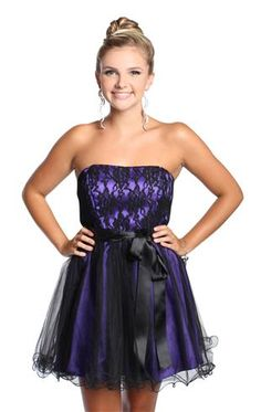 lace strapless homecoming dress with satin tie waist Purple