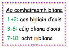Display poster for rules for counting years. Gaeilge- na rialacha le haghaidh ag comhaireamh bliana Classroom Displays, Classroom Decor, Irish Language, 5th Class, World Languages, English Class, Learning Resources, Teacher, Counting