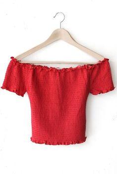 Smocked Off Shoulder Crop Top - Red