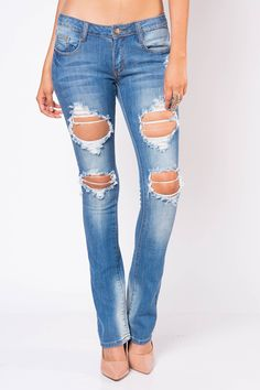 CLASSIC DISTRESSED BOOT CUT BY MACHINE JEANS $30.99
