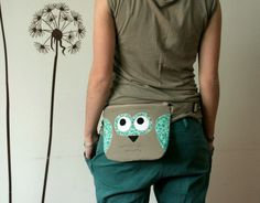 Spring Owl fanny pack belt bag tan and turquoise by ritaboth121, $38.00