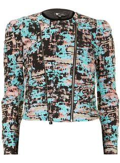 Black, pink and teal printed biker jacket with double front zipper detail. #jacket #prom #style #fashion