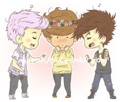 Lilac Niall and Punk Louis having a sing-off to see who gets to date Flower child Harry (by Mistahlevi on tumblr)