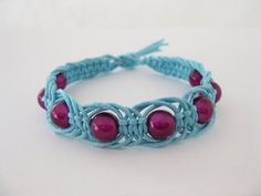 pattern easy blue and pink macrame bracelet tutorial