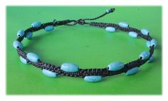 Turquoise Beads Macrame Choker (brown cord) by Malatichan on Etsy