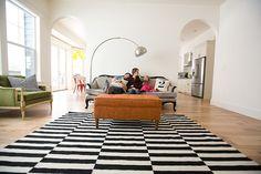Modern living room - love the rug.
