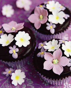 Petits gâteaux fleuris au chocolat. – Blooming chocolate cupcakes.