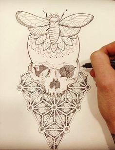 moth skull & sacred geometry