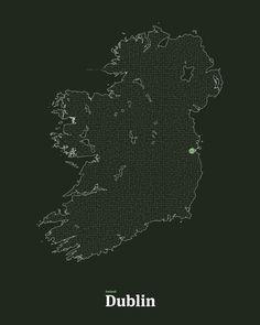All roads lead to Dublin in Dark forest Green #interactiveart #ireland #emeraldisle #map #Dublin #maze #mickallan http://ift.tt/1QELqsK