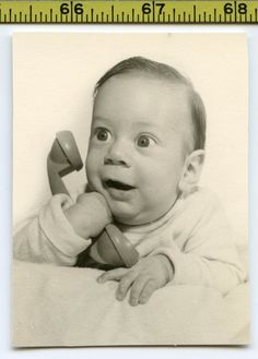 Vintage 1950's photo / Hilarious Bug Eyed Baby Wins Phone Contest for a New Car!
