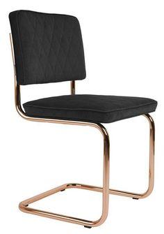 Zuiver+-+Diamond+Spisestol++-+Spisestol+i+retrodesign.+Stolen+er+dekket+med+mørkegrått+stoff+og+har+kobberbelagt+ramme.