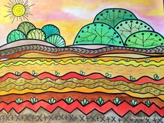 line art One of our learning objectives in grade is studying Lines and the Elements of Art. I wanted a simple line project that incorporated many different types of lines while also reinforcing landsca Types Of Lines Art, Elements Of Art Line, Line Art Projects, School Art Projects, Landscape Art Lessons, Landscape Paintings, Landscapes, Line Art Lesson, Elementary Art Lesson Plans