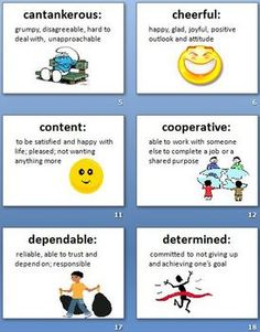 48 character trait definition cards w colorful clip art, ppt for each word to print for bulletin board, and a packet of reading/center activities to do w/ cards; Many students lack the vocabulary to be able to adequately DESCRIBE CHARACTERS. Use these definition cards to scaffold students' ability to describe characters and internalize new vocabulary. Use in guided reading,whole group, bulletin boards, create character word learning packets, independent reading, and use in lit stations.
