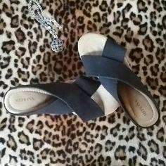 Merona black studded cork platform Wedge platform sandal. Studded. Cork. Merona Shoes Platforms