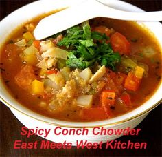 I love conch shells, and have only tried conch meat in a chowder before. When I was browsing through the seafood section recently, I ran int. Chowder Recipes, Soup Recipes, Cooking Recipes, Copycat Recipes, Cooking Ideas, Food Ideas, Recipies, Conch Recipes, Seafood Recipes