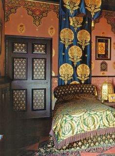 I adore the idea of a fabric panel as an exotically styled headboard & canopy.  ~Splendor