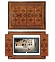 Wall Mounted Plasma TV Cabinet We are a complete interior design center for antique reproduction furniture, high end dining table sets, luxury bedroom furniture,  home accessories, custom kitchen cabinetry and more. We are family owned and operated!