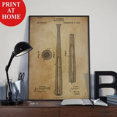 Baseball Bat Patent Art Print-Baseball Poster-Patent Prints-Patent Poster-Printable Wall Art-Man Cave Decor-Boyfriend Gift-Best Husband Gift