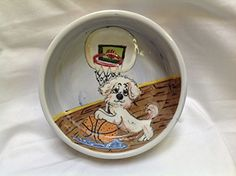 Dog Bowl 8 Dog Bowl for Food or Water Personalized at no Charge Signed by Artist Debby Carman *** Want to know more, click on the image.