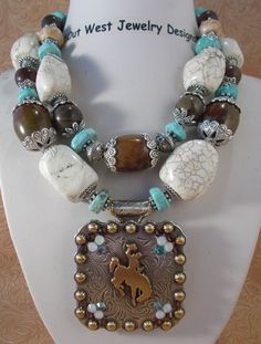 Cowgirl Necklace Set  Chunky Brown and White by Outwestjewelry